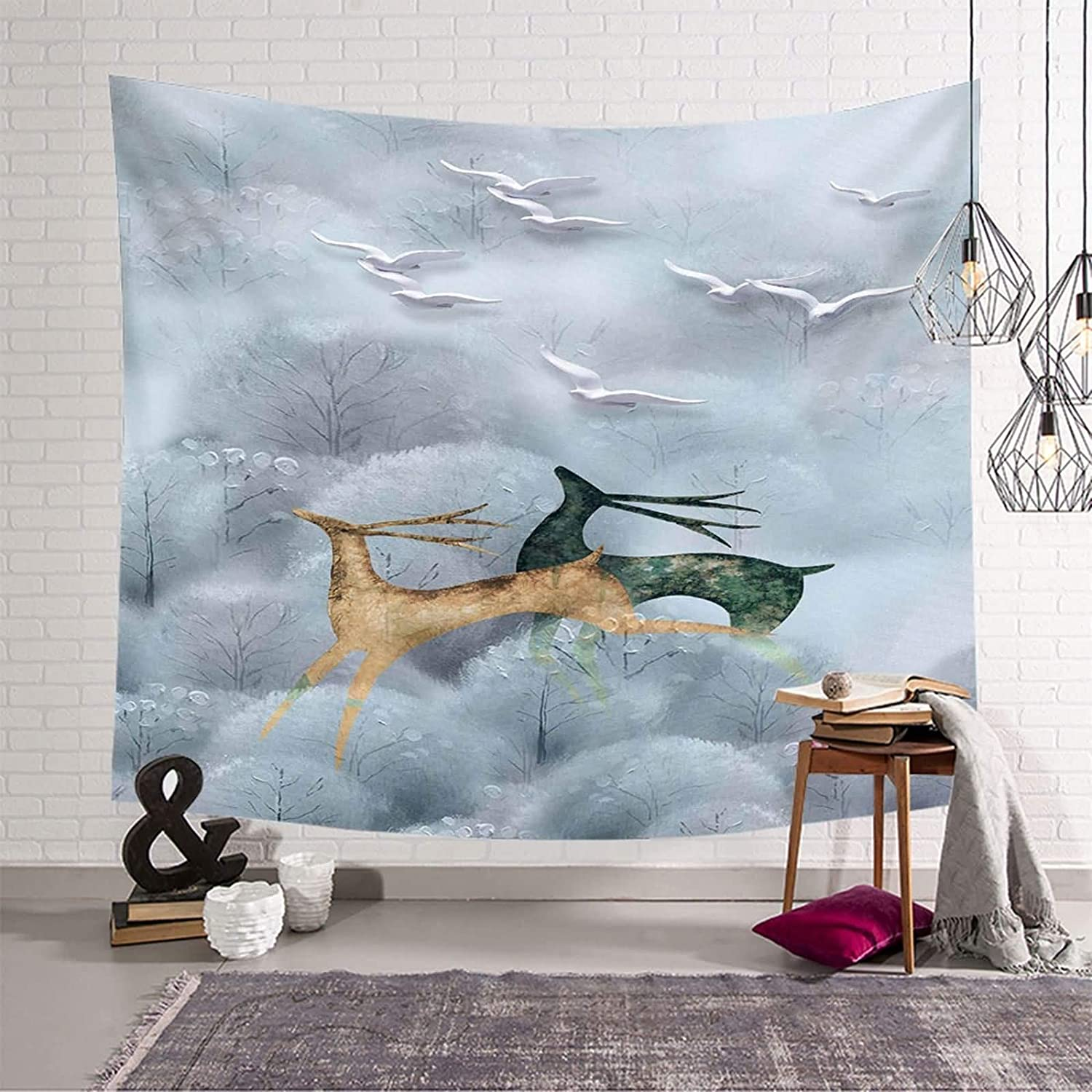 Gnzoe Tapestries For Bedroom Polyester Wal Cheap SALE Start Grey Flying Birds Elk Max 45% OFF
