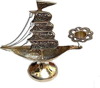 PARIJAT HANDICRAFT Ship Design Brass Candle Stand for Living Room Candle Stands for Table Candle Holders Candle Holder Stand Metal Pillar Wedding Gift Centerpiece Candle Holders