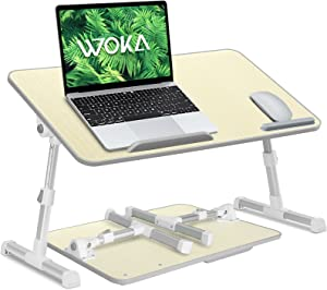 WOKA Adjustable Lap Desk for Bed Foldable Large Tabletop Computer Tray with Legs, Height and Tilt Angle Adjustable Laptop Table for Sofa, Bed Desk with Removable Stopper and Soft Wrist Rest