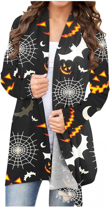 Women's Open Front Cardigan Shirt Halloween Animal Pumpkin Print Blouse Long Sleeve Lightweight Coat