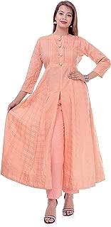 ERISHA Women's Cotton A Line Long Golden Print Kurti Palazzo Pant Set Colour_Pech