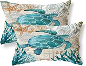 ULOVE LOVE YOURSELF 2Pack Beach Throw Pillow Covers Sea Turtle Waist Pillow Cases Sea Theme Decorative Rectangular Cushion Covers 12 X 20 inches (YZ-Sea Turtle)