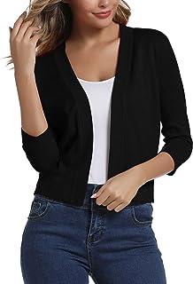 Women's 3/4 Sleeve Cropped Cardigan Sweater Elegant...