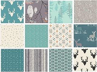 Teal and Gray Hello Bear Woodland Quilt Bundle | Gray Nursery Quilt | Boy's Fabrics | Blithe | Nightfall | Art Gallery Fabrics …