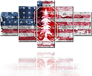 American Flag Decor Logo of university sports association sports team Paintings Picture for NCAA USA Wall Art 5 Piece Canv...