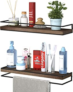 Meangood Floating Shelves Wall Mounted Set of 2, Rustic Wood Wall Storage Shelves for Bedroom,Living Room,Bathroom, Kitche...