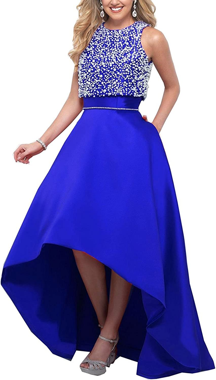 Ellystar Women's Jewel High Low Backless Sleeveless Satin Beaded Formal Dresses