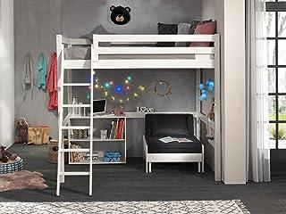 Vipack Lit mezzanine avec surface de couchage 140 x 200 cm avec lit de fauteuil et étagère à deux compartiments en pin mas...