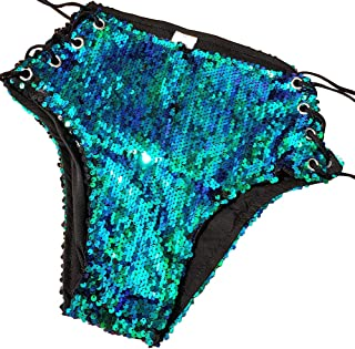 Summer Musical Festival Rave Outfits Holographic Mermaid Sequin High Waisted Shorts Bottoms