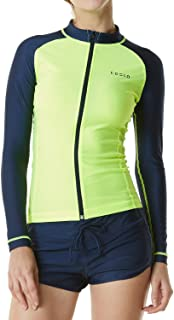TSLA Women's UPF 50+ Zipper Rash Guard, Water Sufing Long/Short Sleeve Swimsuit, UV/Sun Protection Swim Shirts Wetsuit Top