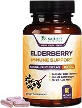 Elderberry Capsules Highest Potency Flu & Cold Relief 1200mg - Daily Immune Support Black Sambucus Nigra Extract Pills - Made is USA - Best Vegan Adults Antioxidant Powder Supplement - 60 Capsules