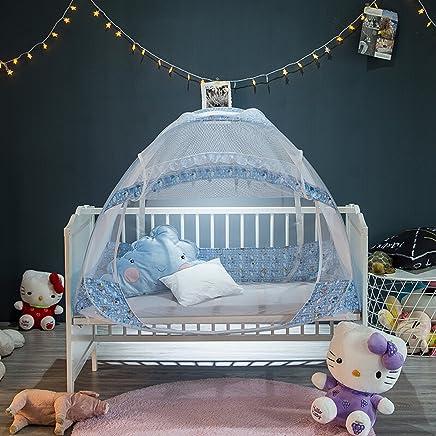果言家纺 婴儿床蚊帐 宝宝蚊帐罩 小孩防蚊罩可折叠有底 钢丝全自动婴幼儿蒙古包蚊帐 水蓝色