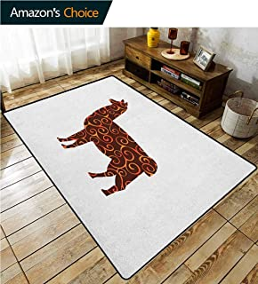 Llama Contemporary Area Rug Large, South American Domestic Animal Silhouette with Swirled Lines Abstract Alpaca Design, Easy Maintenance Area Rug Living Room Bedroom Carpet(2.5'x 7') Orange Brown