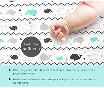 BROLEX Stretchy Fitted Crib Sheets Set 2 Pack Portable Crib Mattress Topper for Baby Boys Girls,Ultra Soft Jersey,Ful...