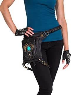 VINTAGE VIBES Black Leather and Turquoise Stone Hip Bag/Shoulder Holster/Cross-body Bag