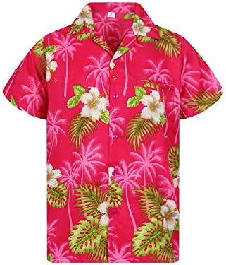 V.H.O. Funky Hawaiian Shirt for Men Shortsleeve Front-Pocket Casual Button Down Small Flower