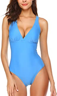 Ekouaer One Piece Monokini Swimsuit for Women Sexy Deep V Neckline Beach Swimwear