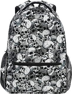Mochila escolar para adolescentes y niños, color negro y blanco calaveras línea de arte de viaje, mochila de senderismo para mujeres y hombres