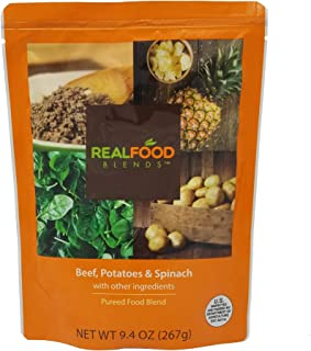 Real Food Blends Beef, Potatoes & Spinach Pureed Blended Meal for Feeding Tubes, 9.4 oz Pouch (Pack of 12 Pouches)