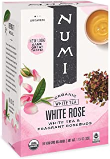 Numi Organic Tea White Rose, 16 Count Box of Tea Bags (Pack of 6) White Tea (Packaging May Vary)