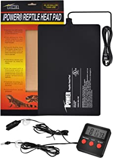 "iPower 8""x12"" Reptile Under Tank Heating Pad Heat Mat Terrarium Heater Warmer, Digital Thermometer and Hygrometer with Tem..."
