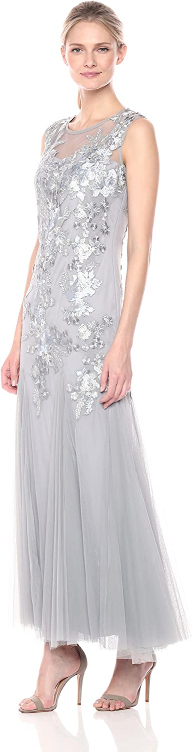 Emma Street Womens 1 Piece Embroidered Mesh Gown with Trumpet Skirt Dress