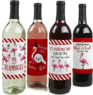 Flamingle Bells - Tropical Flamingo Christmas Decorations for Women and Men - Wine Bottle Label Stickers - Set of 4