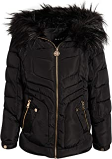 Girls Midweight Bubble Ski Jacket with Sherpa Lined and Faux Fur Trim Hood