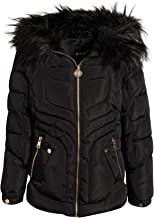 DKNY Girls Midweight Bubble Ski Jacket with Sherpa Lined and Faux Fur Trim Hood