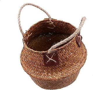 TOKYO HOT Seagrass Storage Basket Flower Pot Natural Rattan Basket Plant Pot Toys Holder Laundry Basket Container Home Decoration,Model 4,38X34 cm