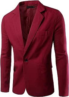 Men's Slim Fit Blazer Jacket Solid Cotton Casual One Button Sport Coats