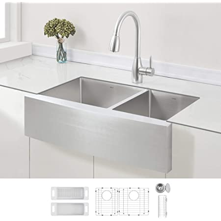 ZUHNE Stainless Steel Double Basin Farmhouse Sink 60/40 (33-Inch Curved Apron Front)