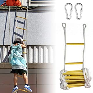 Escape Ladder Rope, Rope Ladder, Outdoor Wooden Nylon Rope Ladder With 2 Buckles, Emergency Fire Escape Ladders For Kids A...
