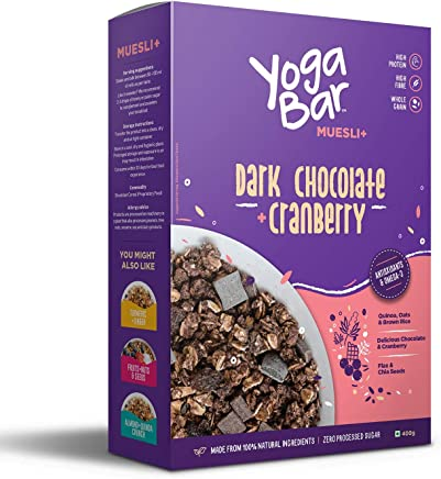 Yogabar Wholegrain Breakfast Muesli - Dark Chocolate + Cranberry, 400g (Single Pack)