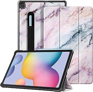 Fintie Hülle für Samsung Galaxy Tab S6 Lite   Ultra Schlank Kunstleder Schutzhülle mit Stifthalter, Auto Schlaf/Wach Funktion für Samsung Tab S6 Lite 10.4 SM P610/ P615 2020, Marmor Rosa