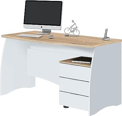 Habitdesign Stil Bureau avec tiroirs, Blanc artik/chêne Canadien, Dimensions : 136 x 67 x 74 cm