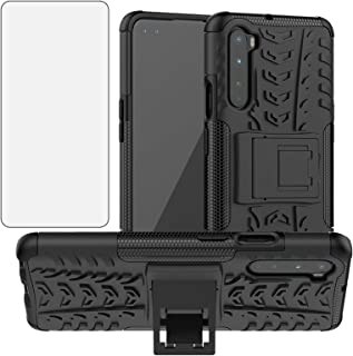 Phone Case for OnePlus Nord with Tempered Glass Screen Protector Cover and Stand Kickstand Hard Rugged Hybrid Protective C...