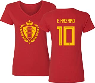 Tcamp Belgium 2018 National Soccer #10 Eden HAZARD World Championship Women's V-Neck Tshirt