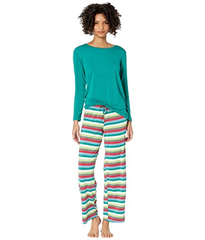 Kickee Pants Long Sleeve Loosey Goosey Tee Pants PJ Set (2020 Multi Stripe) Women
