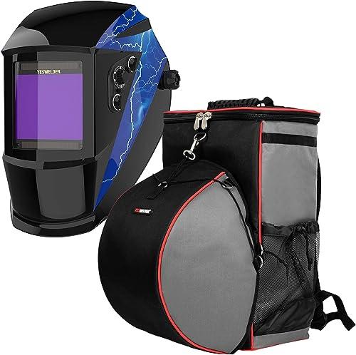 discount YESWELDER Large Viewing Solar Powered Auto Darkening sale Welding Helmet&Welding Backpack Extreme Gear Pack with 2021 Helmetcatch online