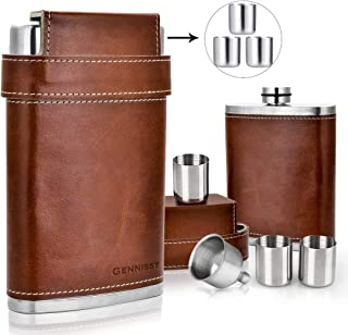 GENNISSY 304 18/8 Stainless Steel 8oz Flask – Brown Leather with 3 Cups and Funnel..