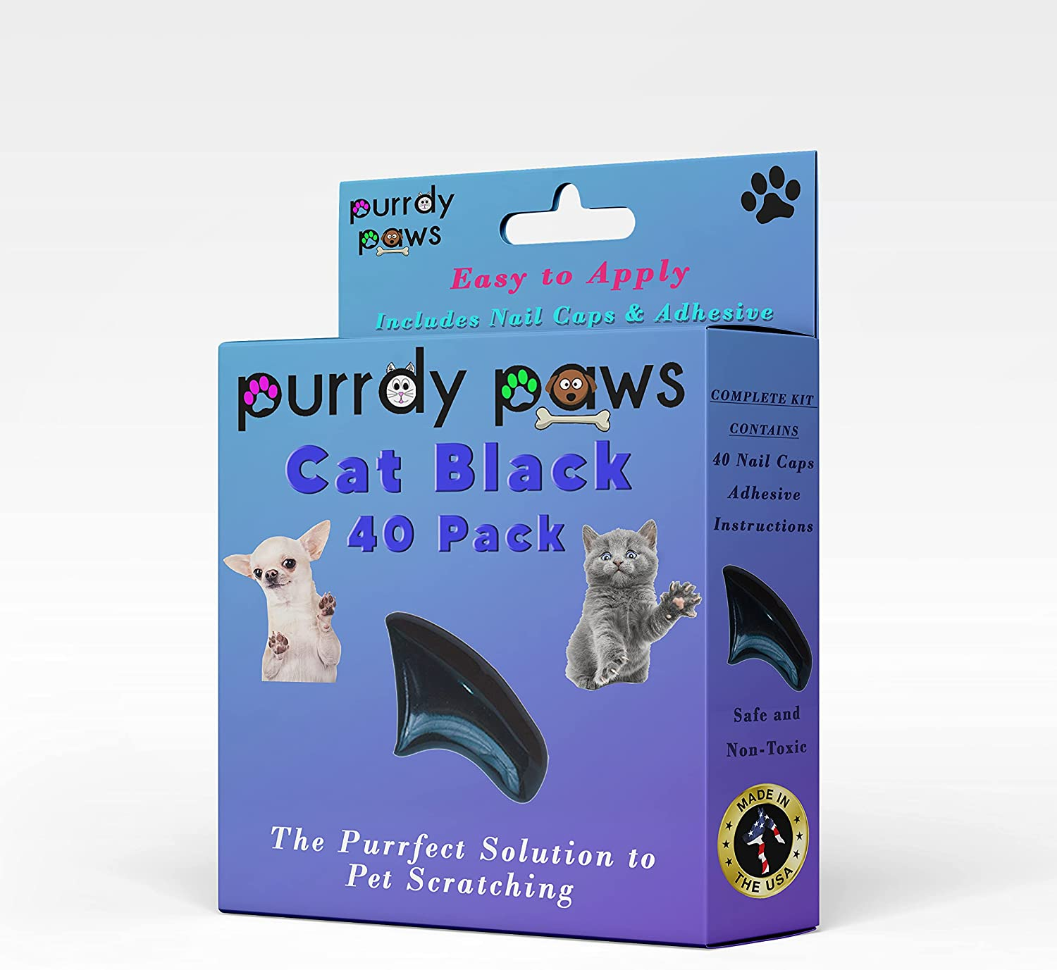Financial sales sale Purrdy Paws Online limited product 40-Pack Soft Nail for Claws Cat Caps Black