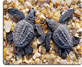 Pingpi Gaming Mouse Pad Custom Design,Cut Baby Sea Turtle Crawled on The Beach,Personalized Design Non-Slip Rubber Mousepad