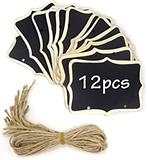 Honbay 12PCS 8.5x6cm/3.35x2.36inch Mini Chalkboards Signs Hanging Blackboard Double Side Rectangle Message Board Signs for Party Decoration, Weddings, Garden, DIY Crafts
