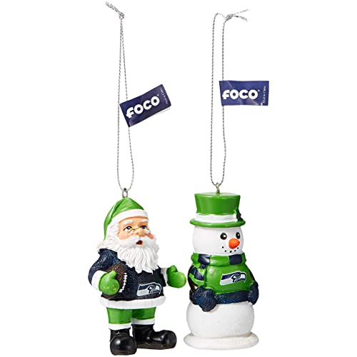 a732f6b8d FOCO NFL Unisex St Nick and Snowman 2 Pack Ornament Set