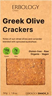 Erbology Organic Crackers (12 x 1.8 oz Pack) with Greek Olives - Raw - Vegan - Gluten-free - Activated