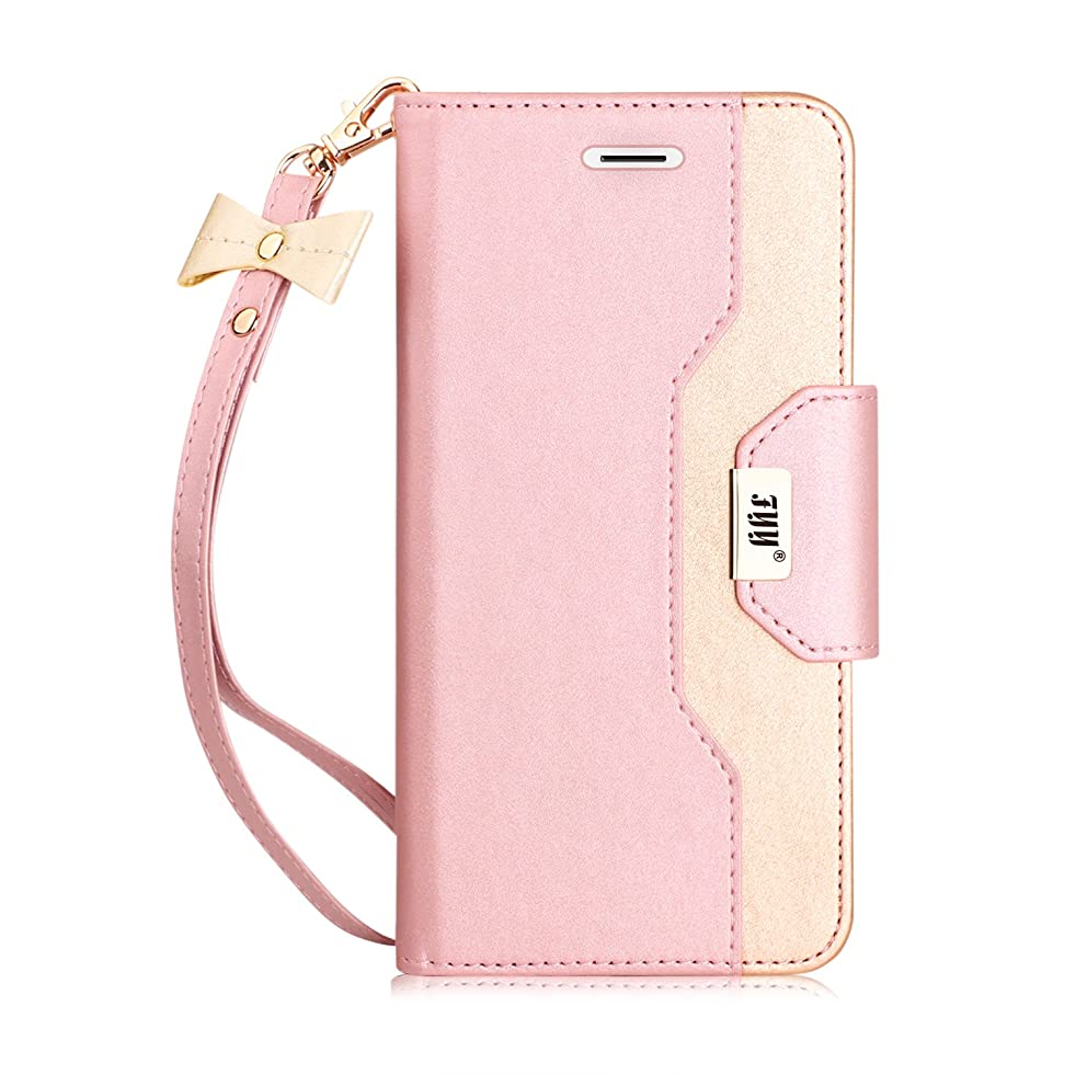FYY Leather Case with Mirror for iPhone 6S Plus/iPhone 6 Plus, Leather Wallet Flip Folio Case with Mirror and Wrist Strap for iPhone 6S Plus/6 Plus Pink
