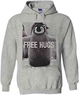 Penguin Free Hugs Funny Novelty Black Men Women Unisex Hooded Sweatshirt Hoodie
