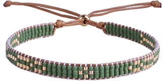 C·QUAN CHI Woven Friendship Bracelet for Women String Sead Beaded Wax Rope Braided Adjustable Bracelet Handmade