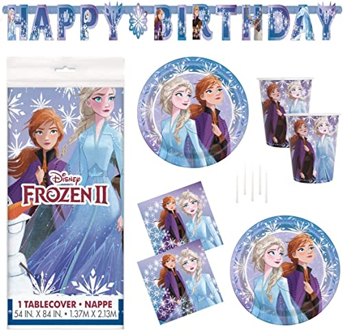 Frozen 2 Party Supplies Set - Serves 16 - Includes Banner Decoration, Tablecover, Large Plates, Napkins, Cups and Can...